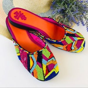 Chicos Key Largo beaded mules 10M